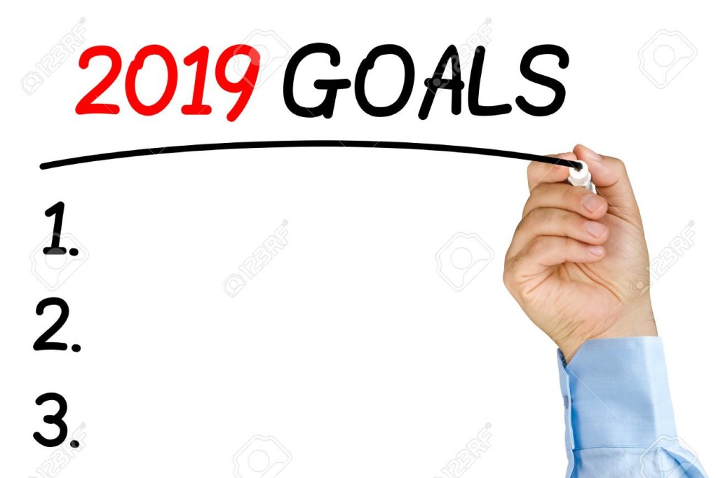 Businessman underlining 2019 goals text with black felt-tip or marker